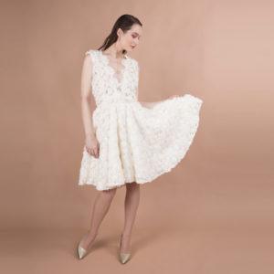 robe de mariée civile fleurs 3D